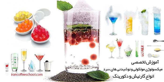 آموزش تخصصی میکسولوژی مولکولی و نوشیدنی سرد - آموزش انواع گارنیش نوشیدنی ها و دکورینگ